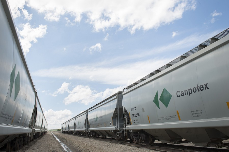 Railcars carrying Canpotex potash